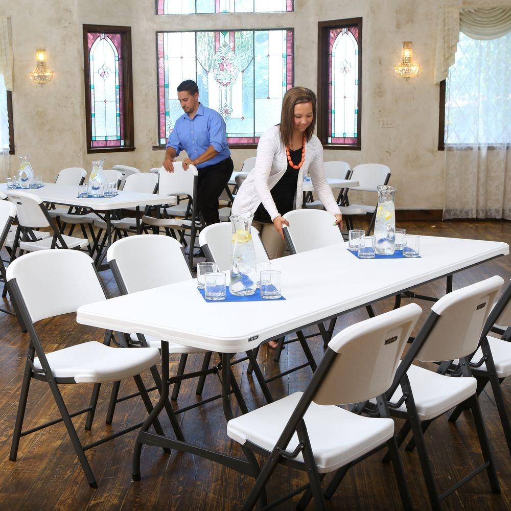 36-Piece White Folding Table and Chair Set