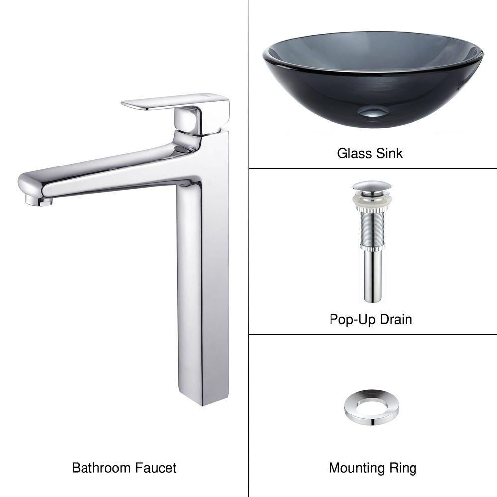 KRAUS Bathroom Vessel Sink in Clear Glass Black with Virtus Faucet in Chrome Clear Black C-GV-104-12mm-15500CH