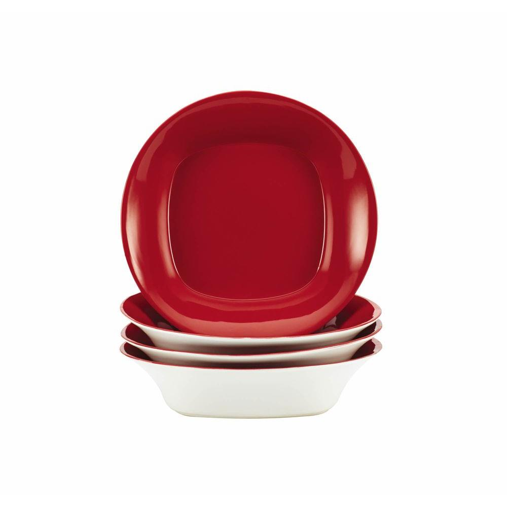 Rachael Ray Dinnerware Round and Square 4-Piece Stoneware Soup and Pasta Bowl Set in Red