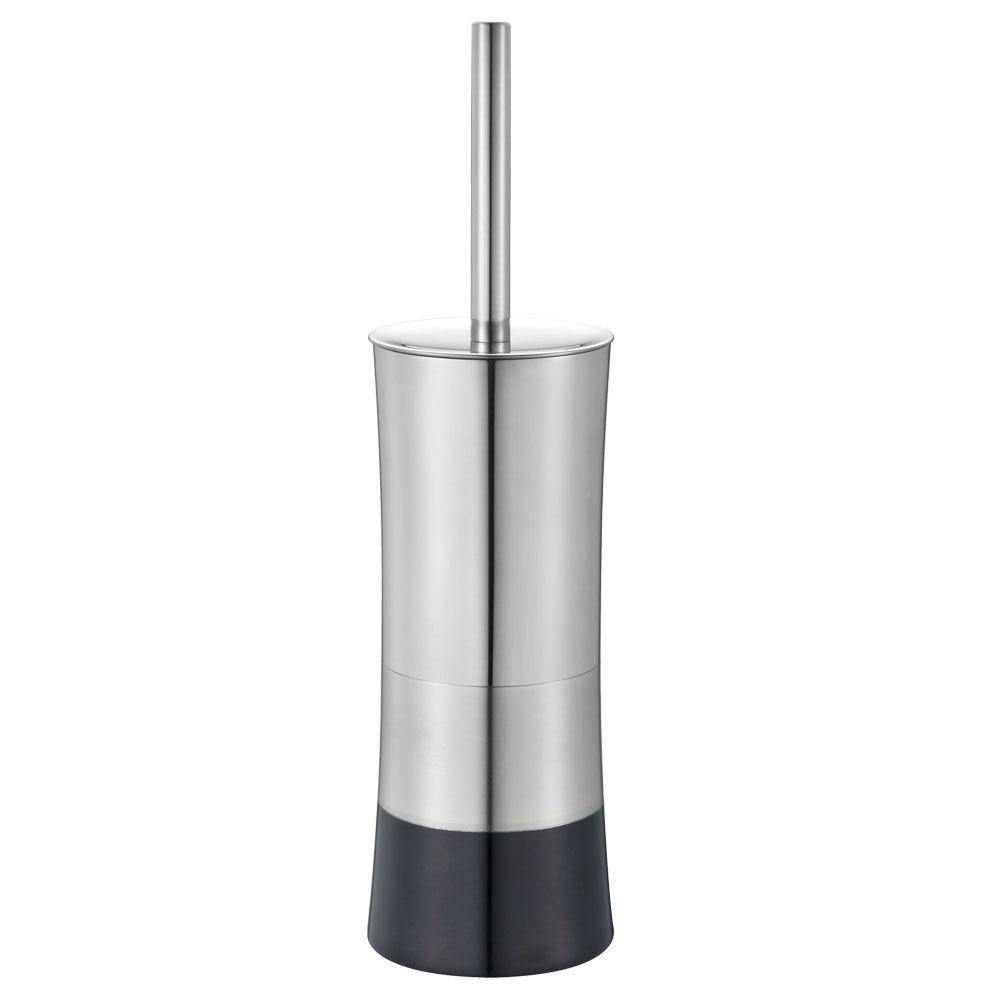 Shiny Colorblock Toilet Brush and Holder in Black
