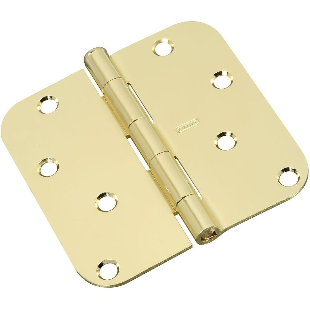 Stanley-National Hardware 4 in. x 4 in. Bright Brass Residential Hinge