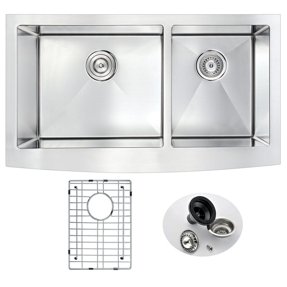 ELYSIAN Series Farmhouse Stainless Steel 33 in. 0-Hole Double Bowl Kitchen