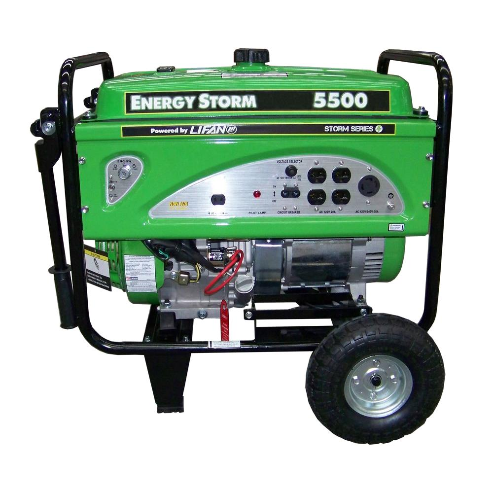 Energy Storm 5,500-Watt 1 337cc Gasoline Powered Portable Generator with Voltage
