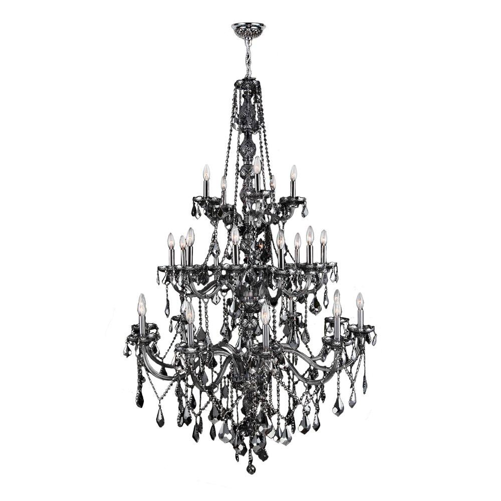 Provence Collection 25-Light Chrome and Smoke Crystal Chandelier
