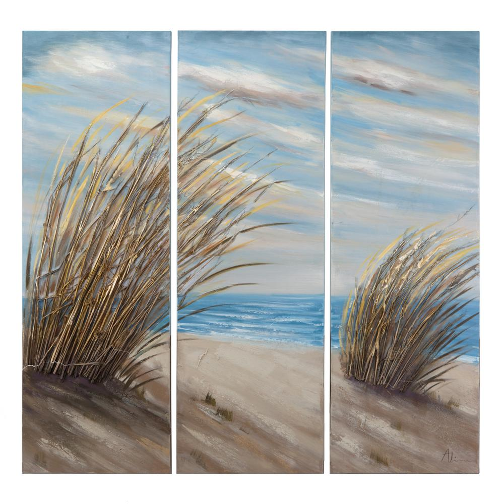 "47 in. x 47 in. ""Shore Grass"" Hand Painted Contemporary Artwork"