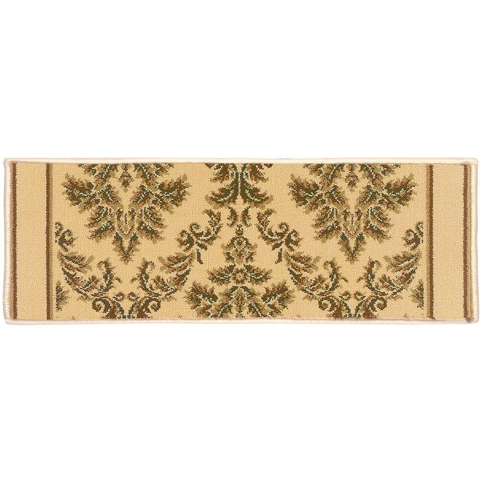 Kurdamir Damask Ivory 9 in. x 26 in. Stair Tread