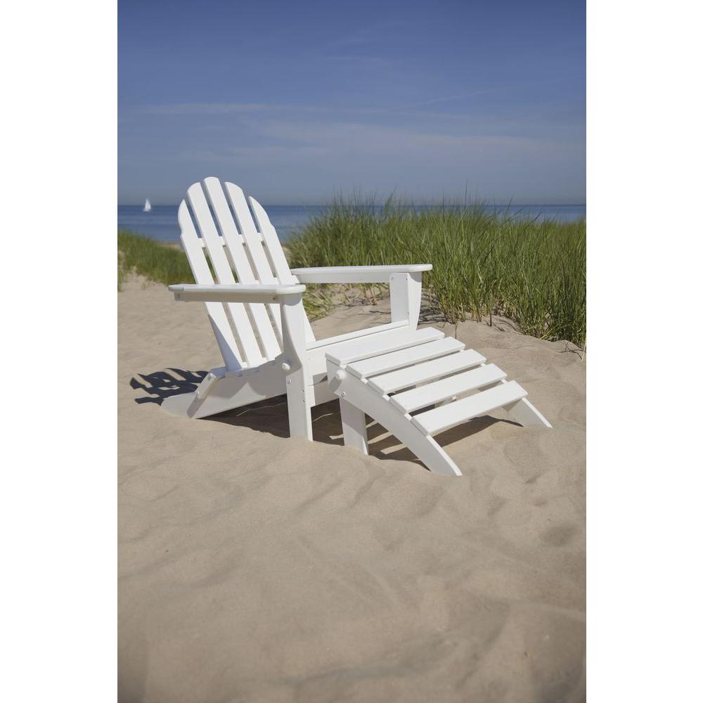 POLYWOOD Classic White Patio Adirondack Chair-PWS136-1-WH - The Home Depot