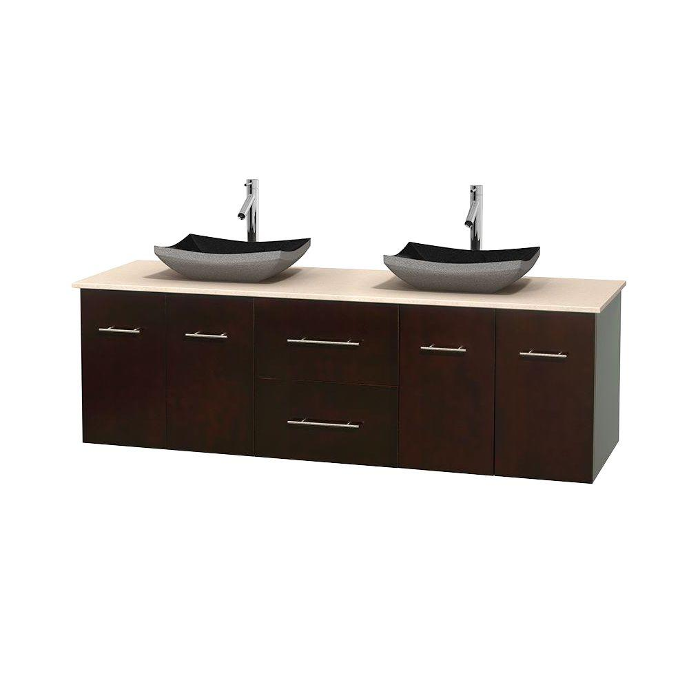 Centra 72 in. Double Vanity in Espresso with Marble Vanity Top