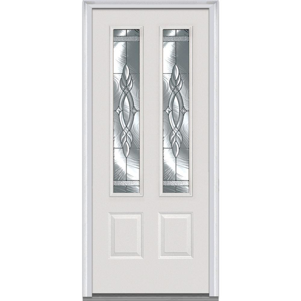 Milliken Millwork 32 in. x 80 in. Brentwood Right-Hand 2-3/4 Lite 2-Panel Classic Primed Steel Prehung Front Door