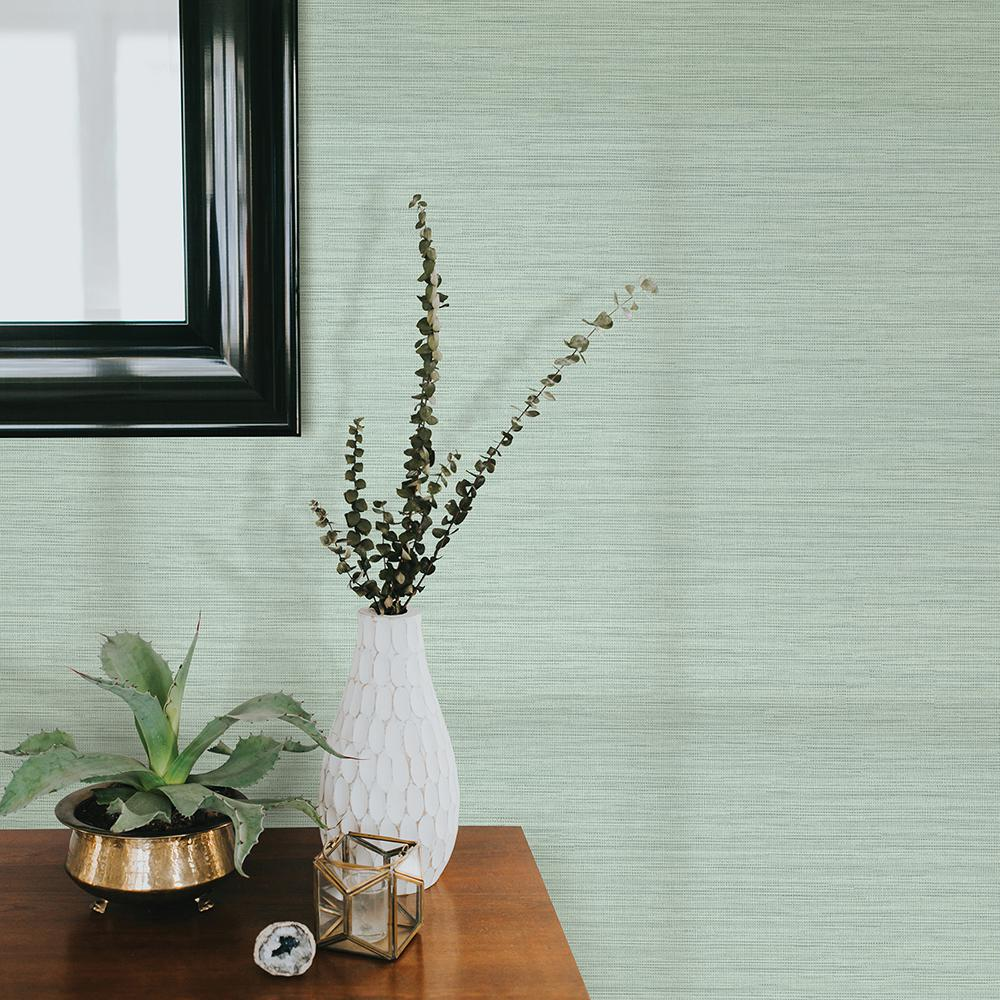 8 in. x 10 in. Giana Turquoise Horizontal Silk Wallpaper Sample