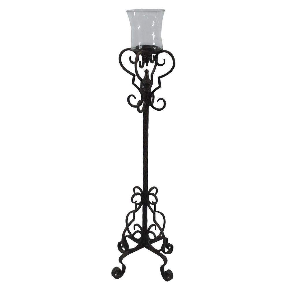 null 9.5 in. W x 40 in. H Decorative Iron Candle Holder-DISCONTINUED