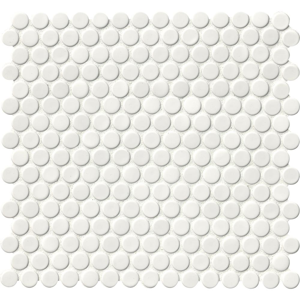 White Glossy Penny Round 12 in. x 12 in. x 6
