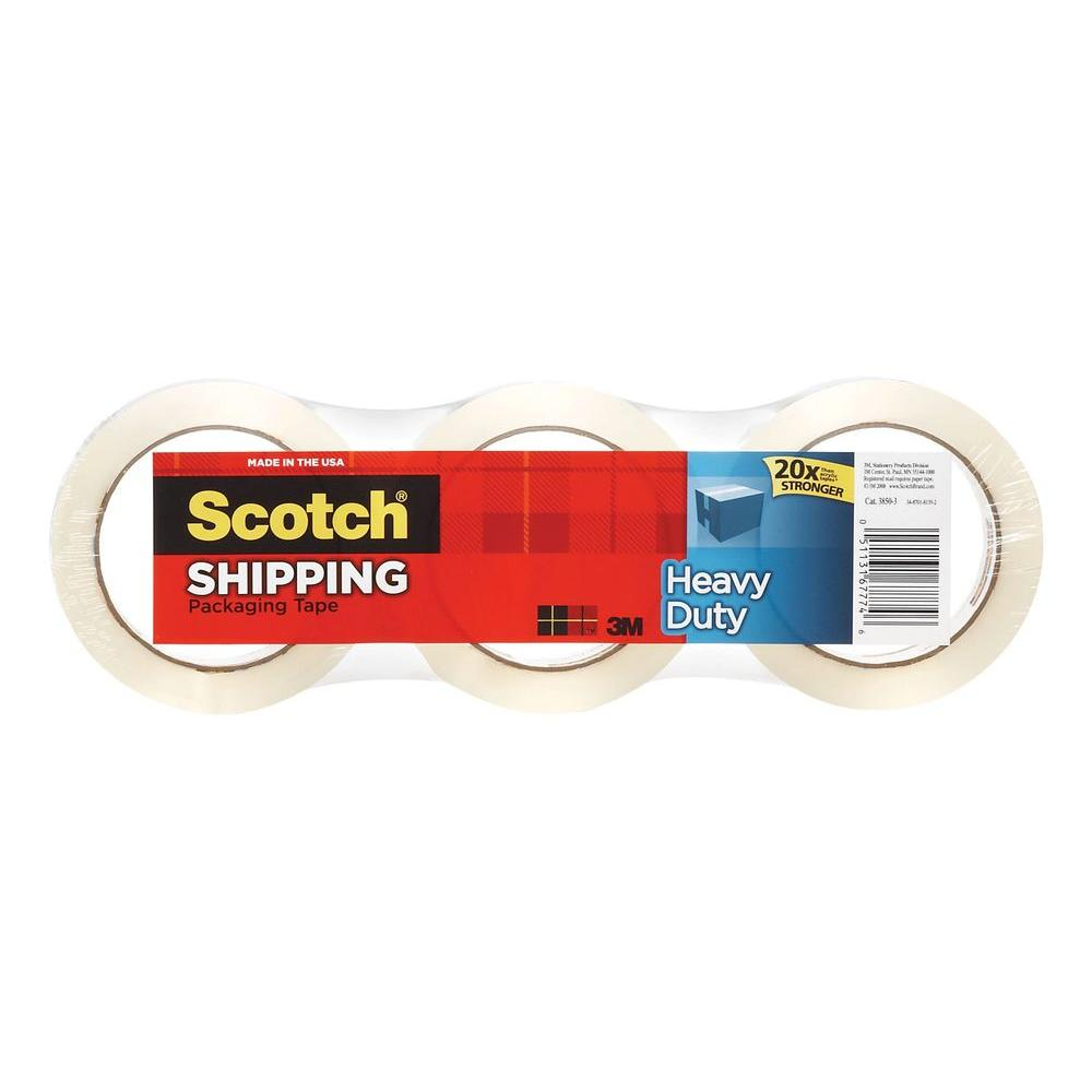 3M Strapping Material & Films Scotch 1.88 in. x 54.6 yds. Heavy Duty Shipping Packaging Tape (3-Pack) (Case of 8) 3850-3-DC