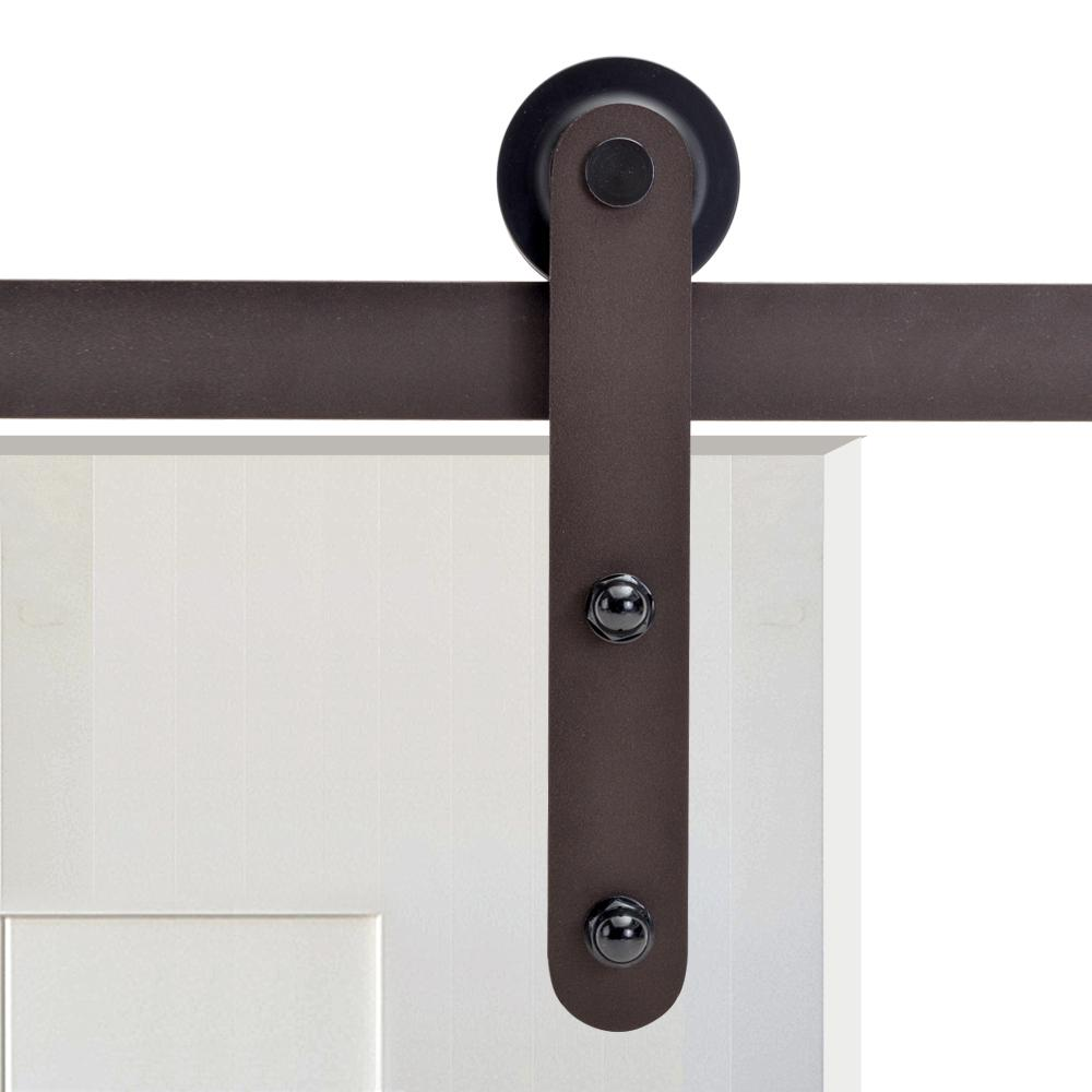 Calhome 72 in antique bronze rustic flat strap barn style sliding door track and hardware set - Barn door track hardware home depot ...