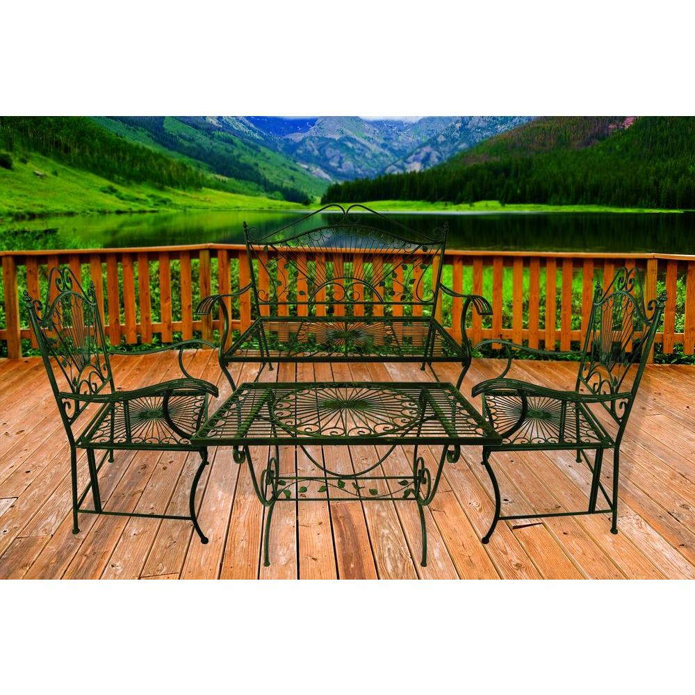4 Seasons Global Bronze 4-Piece Metal-Iron Patio Table-Chair and Bench Victorian Chat Set-DISCONTINUED