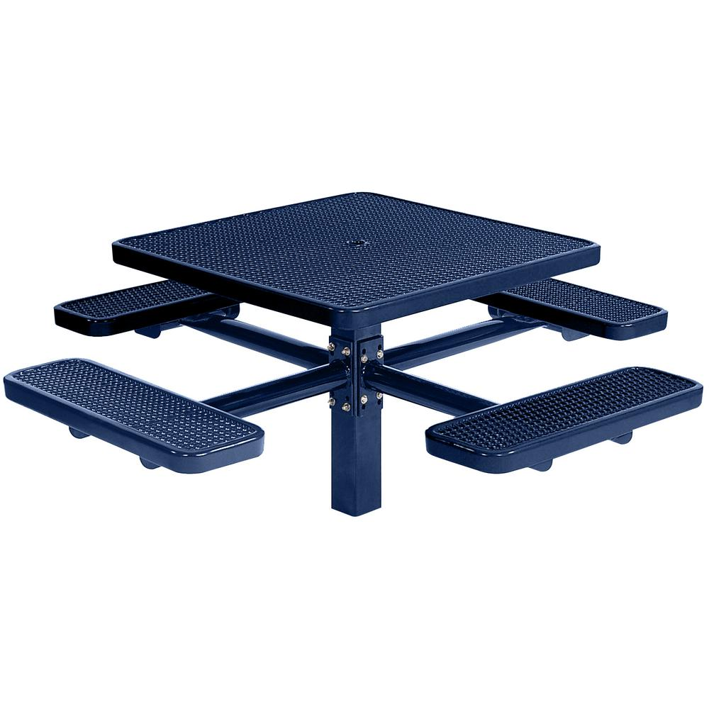 Park 46 in. Blue Commercial Square Picnic Table with 4 Seats