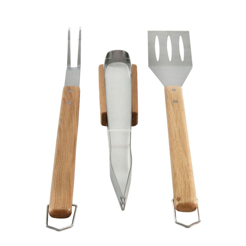 Oval Pro Chef 3-Piece BBQ Grill Tool Set with Wooden Handles
