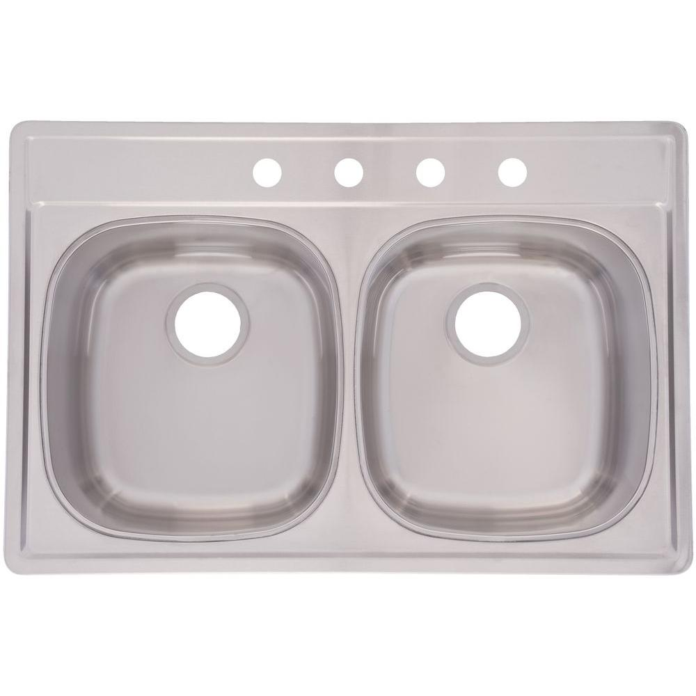 FrankeUSA Kitchen Top Mount Stainless Steel 33x22x9.5 4-Hole 20-Gauge Double Bowl Kitchen Sink DSK954BX