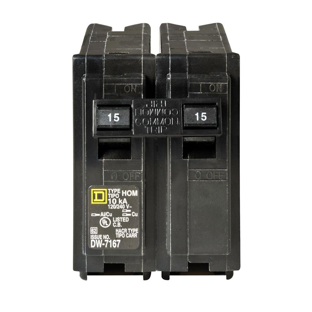 Square D Homeline 15 Amp Two-Pole Circuit Breaker