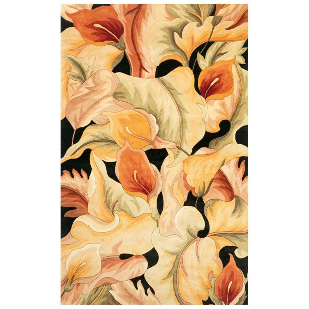 Kas Rugs Exotic Lily Black 5 ft. x 8 ft. Area