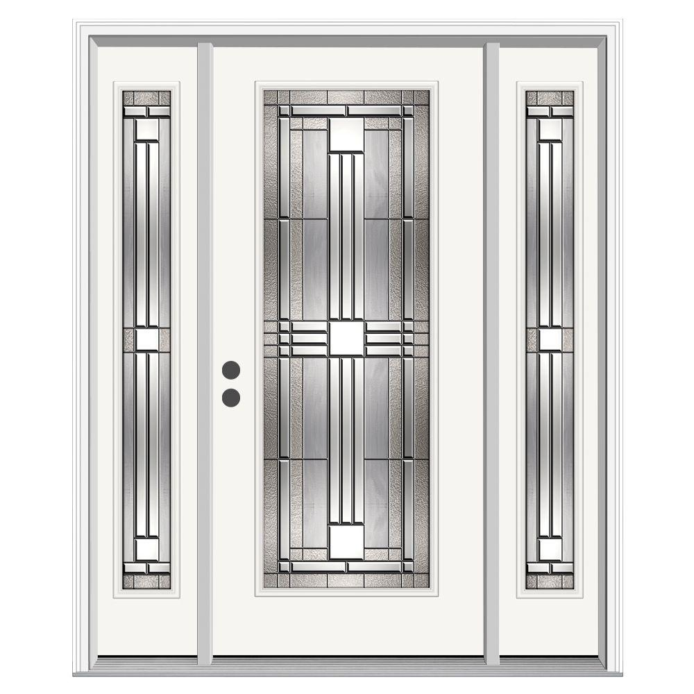 Jeld wen 62 in x 80 in full lite cordova primed steel for Steel front entry doors