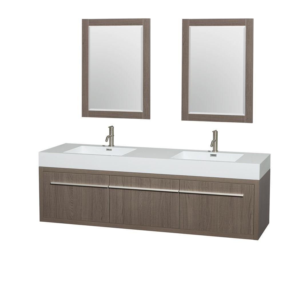 Floating bathroom sink cabinets - Double Vanity In Gray Oak With Acrylic Resin