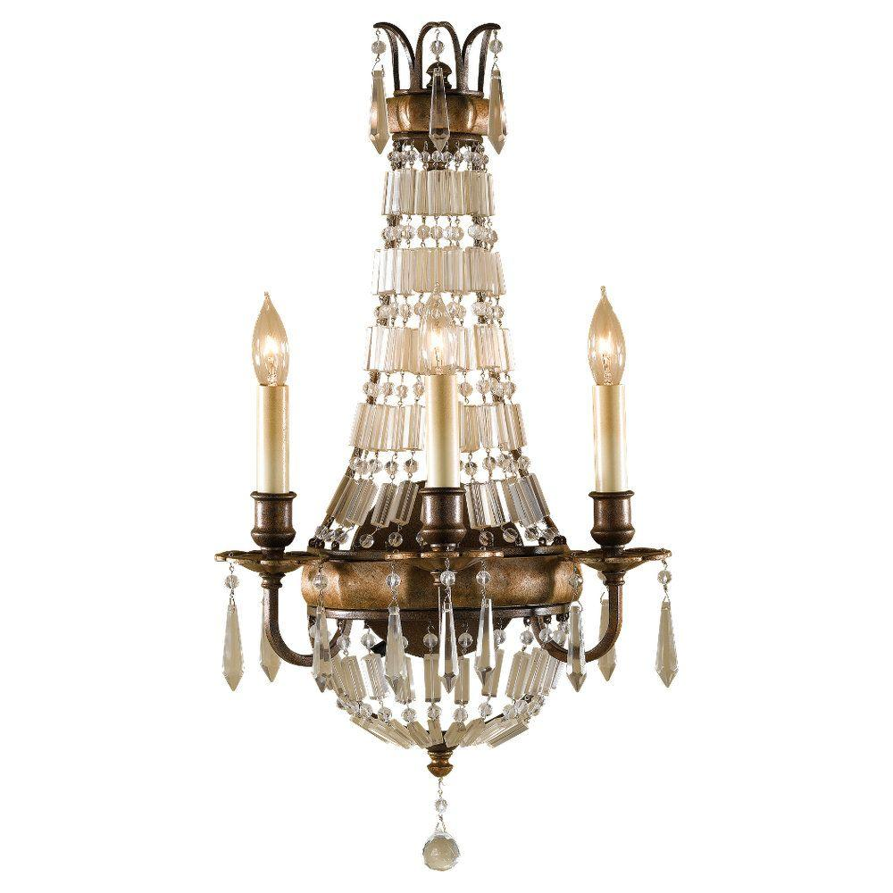 Bellini 3-Light Oxidized Bronze and British Bronze Wall Sconce