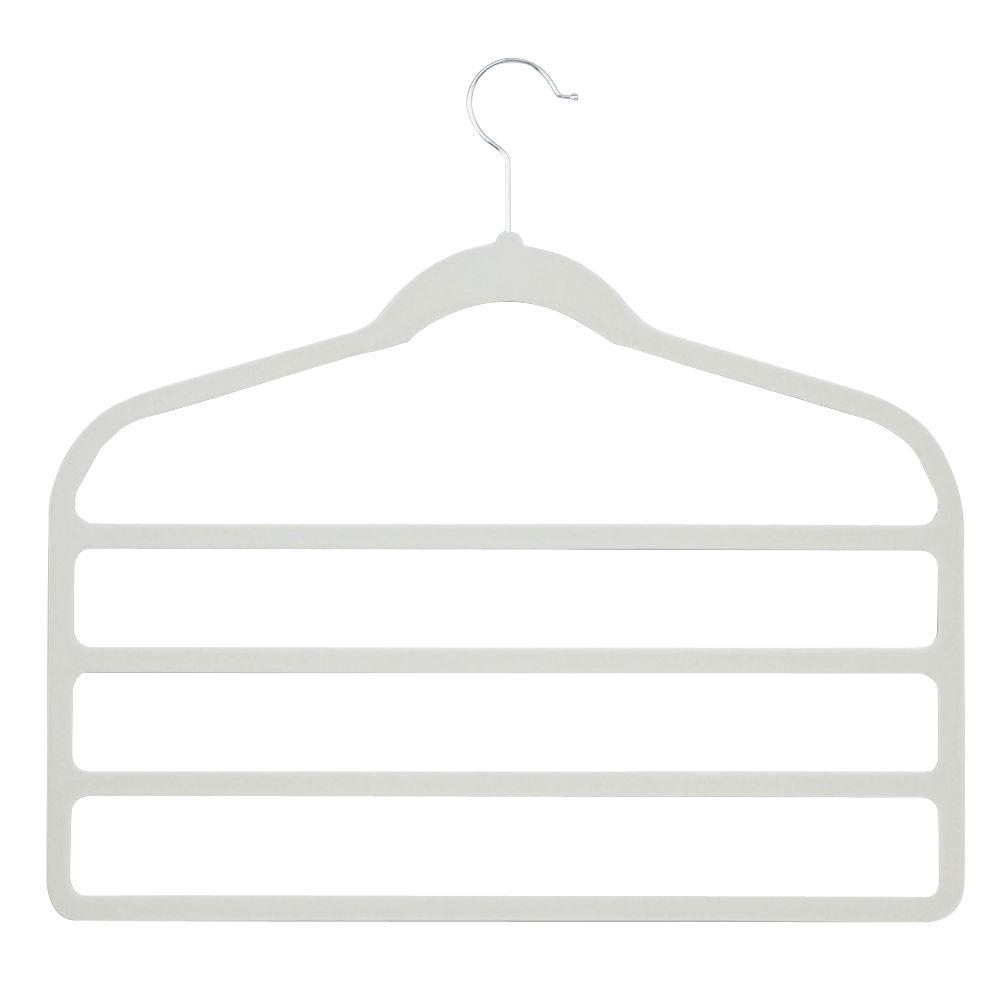 Honey-Can-Do Velvet Touch 4-step White Pant Hanger (10-Pack)-HNGZ01949 - The