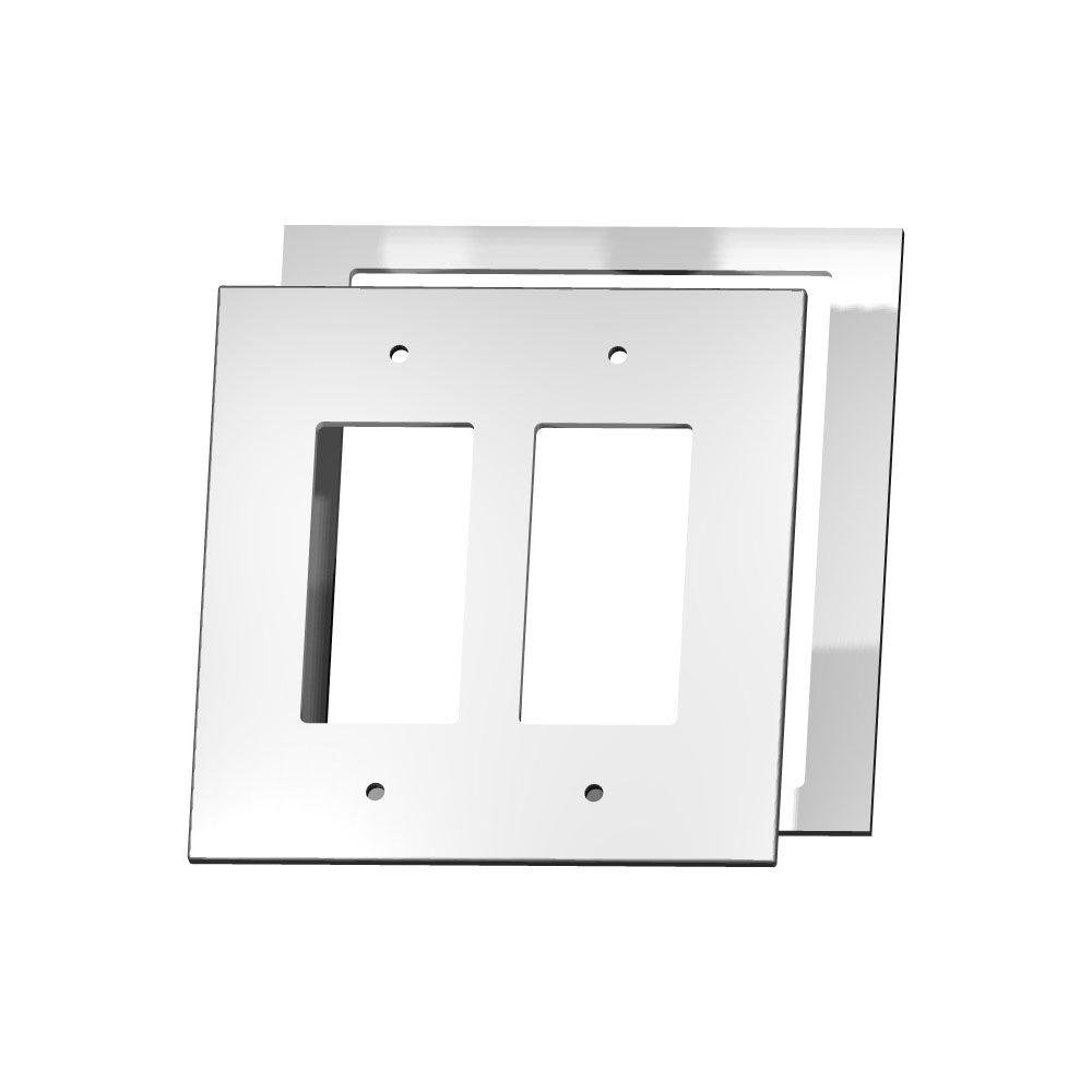 MirrEdge Crystal Cut Mirror 2 Decora Wall Plate with Clear Acrylic Spacer