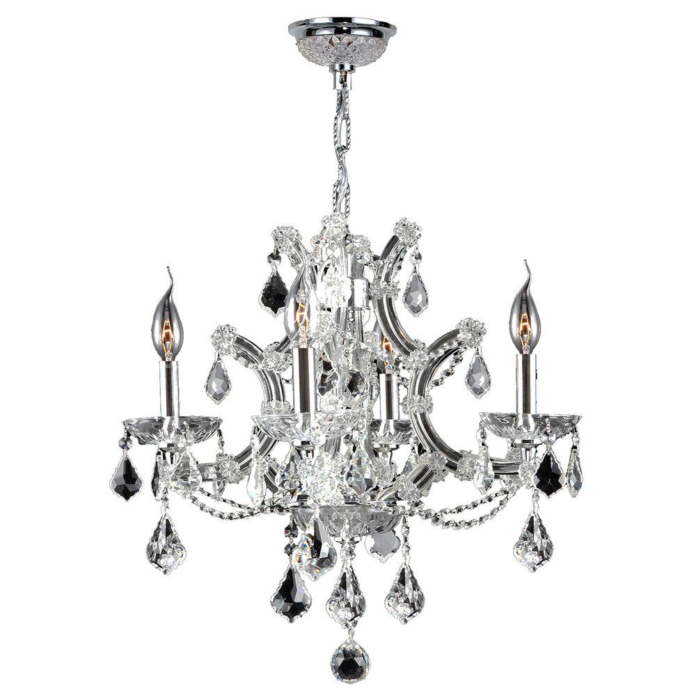 Worldwide Lighting Lyre 4-Light Chrome Chandelier with Clear