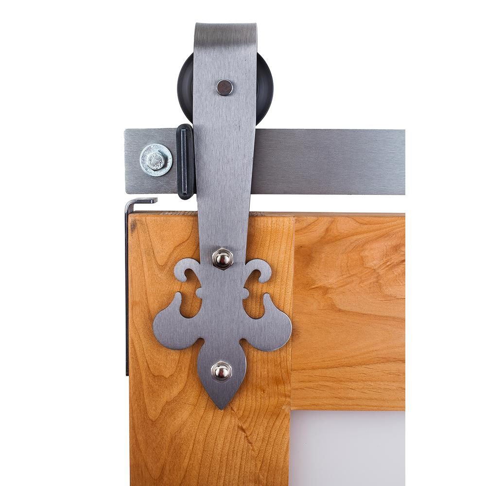 Ironwood fluer de lis 6 ft track in brushed steel barn door hardware k4r264g6l the home depot - Barn door track hardware home depot ...