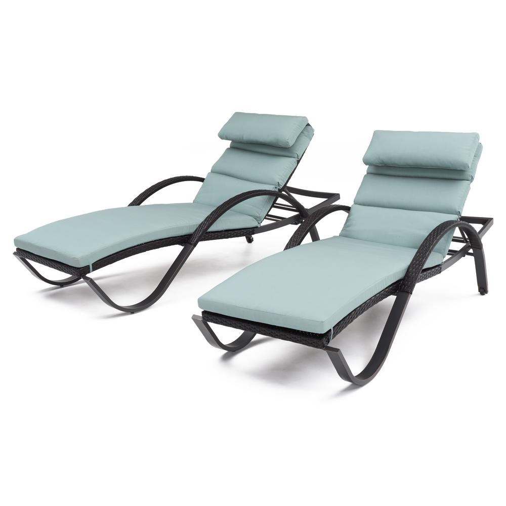 Deco Patio Chaise Lounge with Bliss Blue Cushion and Attached Pillow