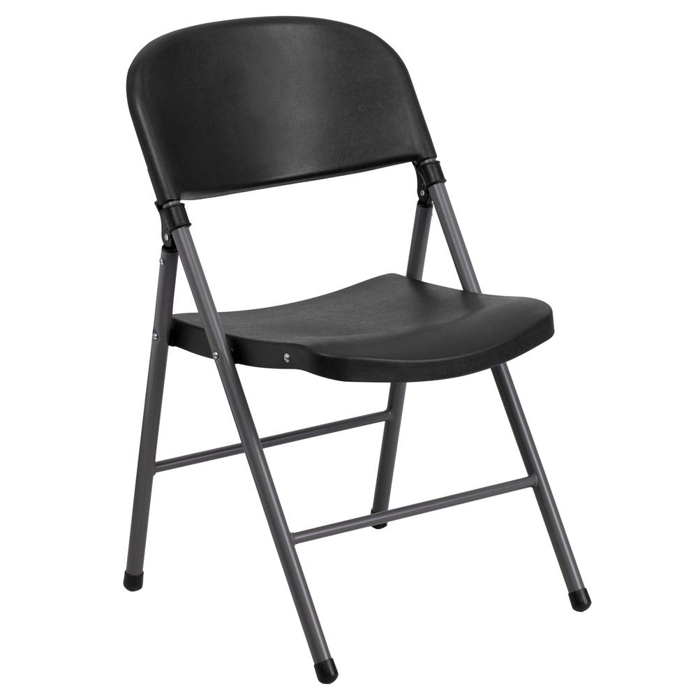 Hercules Series 330 lb. Capacity Black Plastic Folding Chair with Charcoal