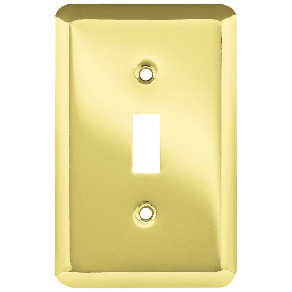 Stamped Round 1 Toggle Switch Wall Plate - Polished Brass