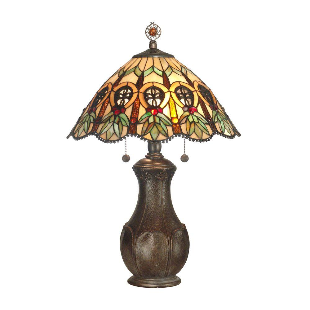 Dale Tiffany 23 in. Green Leaf Art Glass Table Lamp-DISCONTINUED