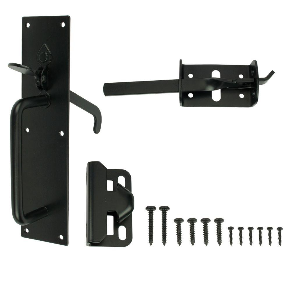 Everbilt Black Heavy Duty Gate Thumb Latch-20524 - The Home Depot