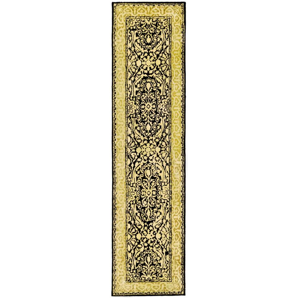 Silk Road Black and Ivory 2 ft. 6 in. x 12