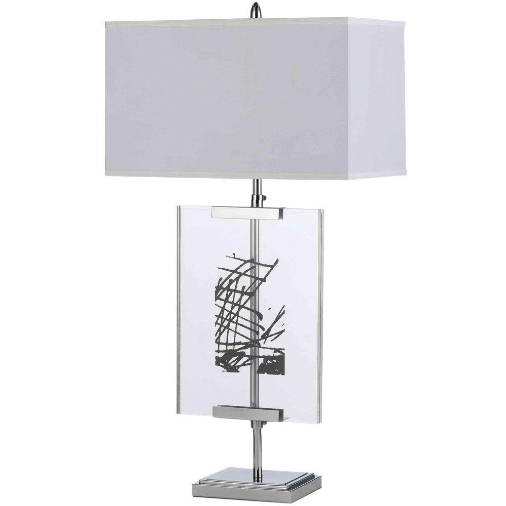 AF Lighting Easel 36 in. Chrome Table Lamp with Interchange Panels