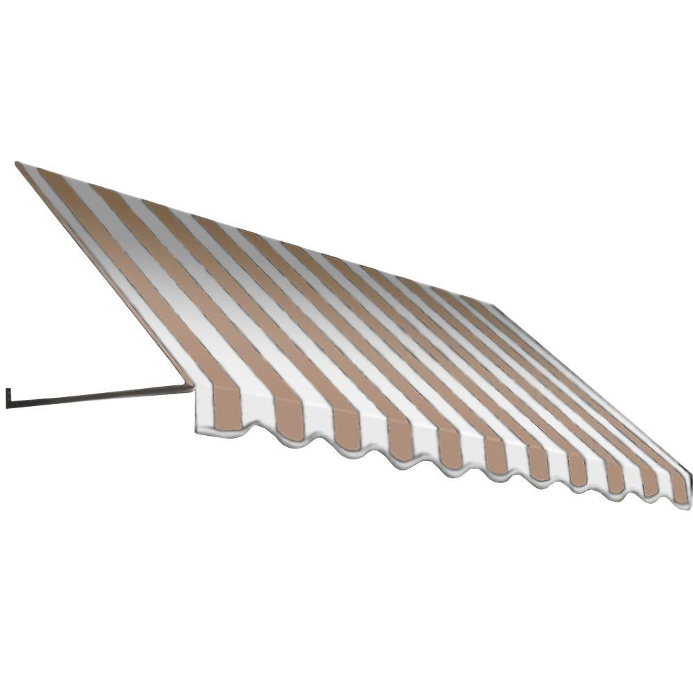 AWNTECH 20 ft. Dallas Retro Window/Entry Awning (16 in. H x 32 in. D) in Linen/White Stripe