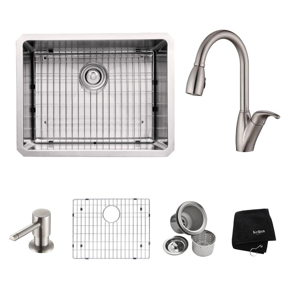KRAUS All-in-One Undermount Stainless Steel 23 in. Single Bowl Kitchen Sink with Faucet and Accessories in Stainless Steel