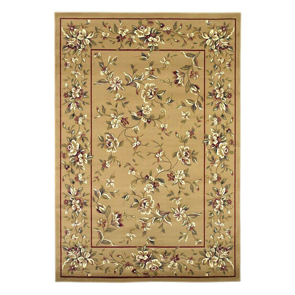 Kas Rugs Traditional Florals Beige 5 ft. 3 in. x 7