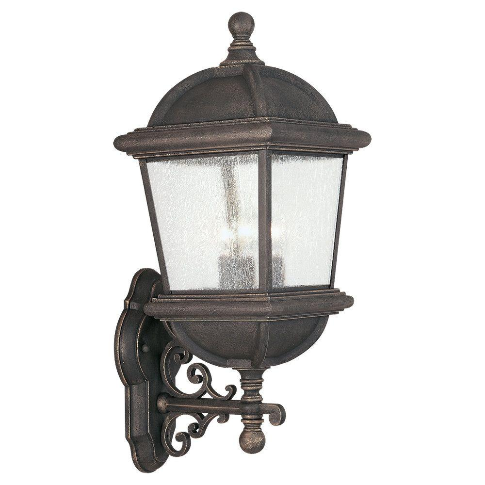 Sea Gull Lighting Charleston 3-Light Outdoor Gold Patina Wall Fixture-DISCONTINUED