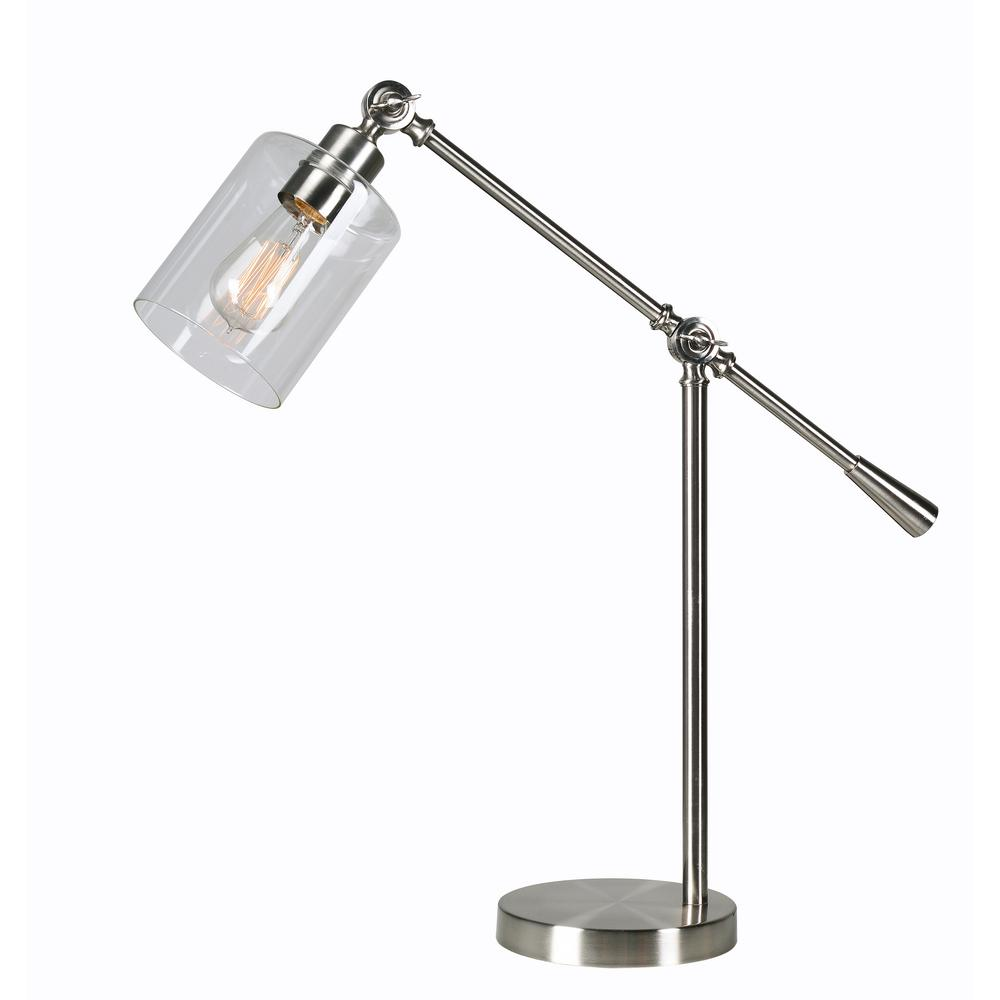 Thornton 25 in. Steel Desk Lamp with Glass Shade