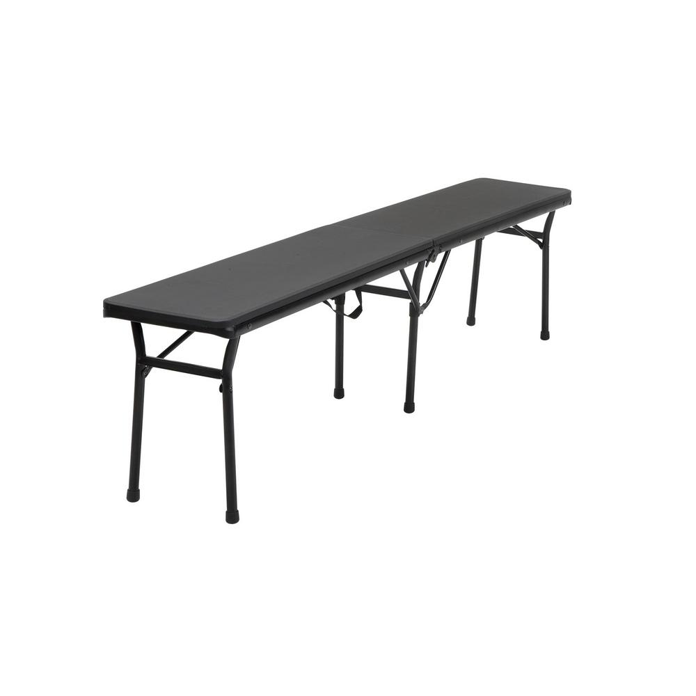 Black Portable 2-Pack Folding Tailgate Bench