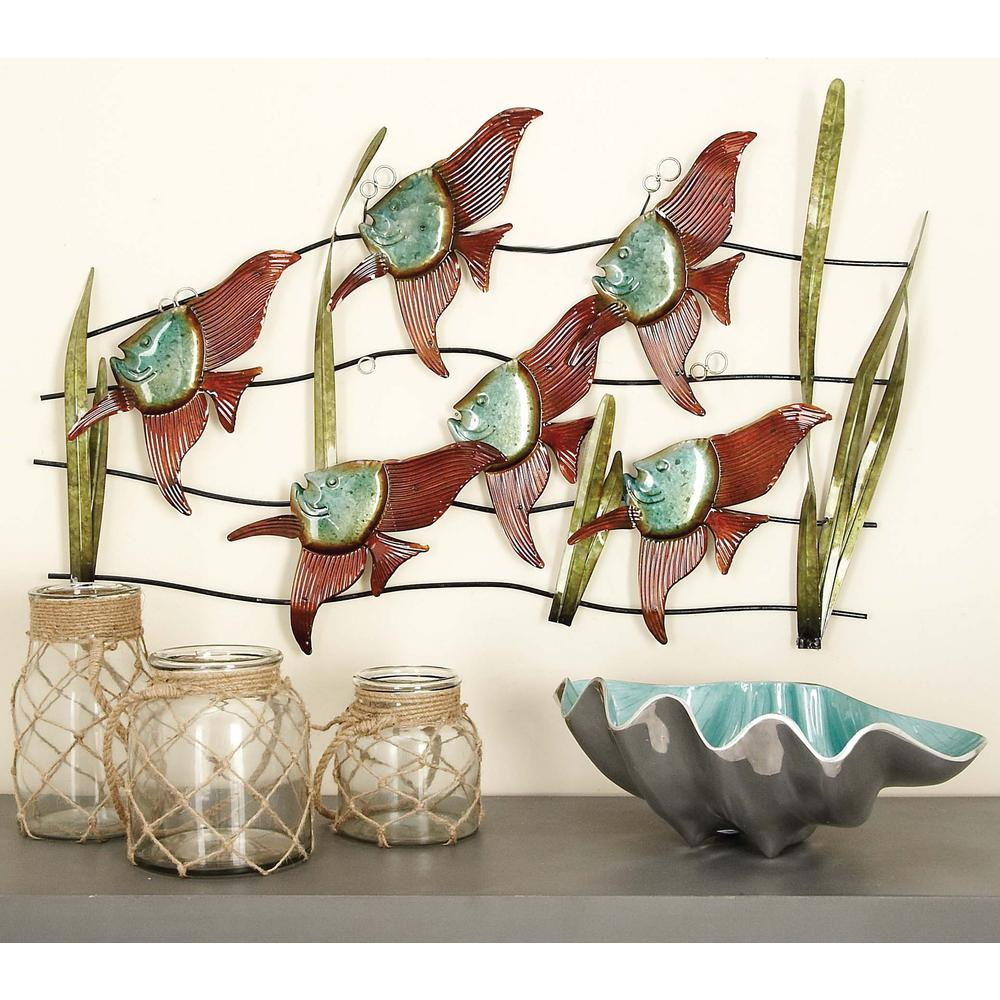 35 in x 23 in coastal inspired multicolored metal for Tropical metal wall art