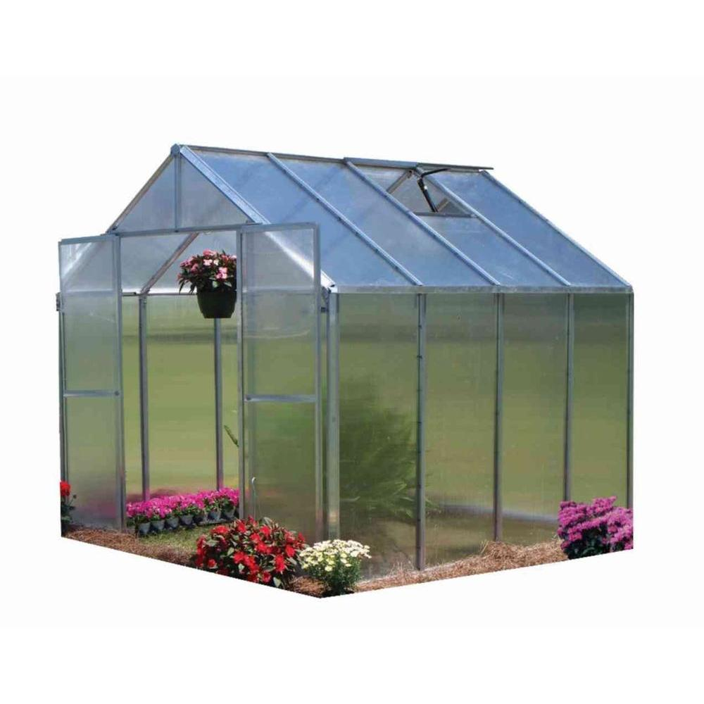 Monticello 8 ft. x 8 ft. Aluminum Finish Quick Assembly Greenhouse-Mont-8-AL