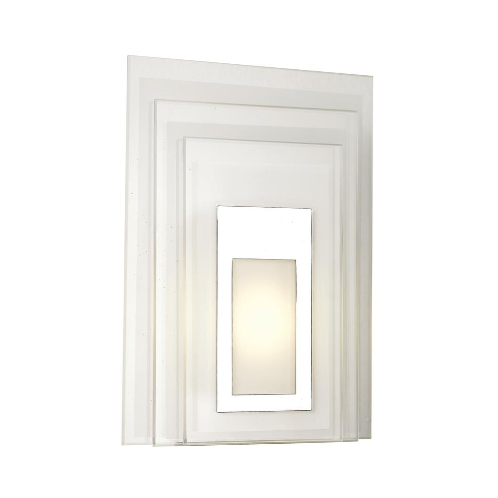 Transglobe LED Polished Chrome Indoor Wall Sconce with White Acrylic