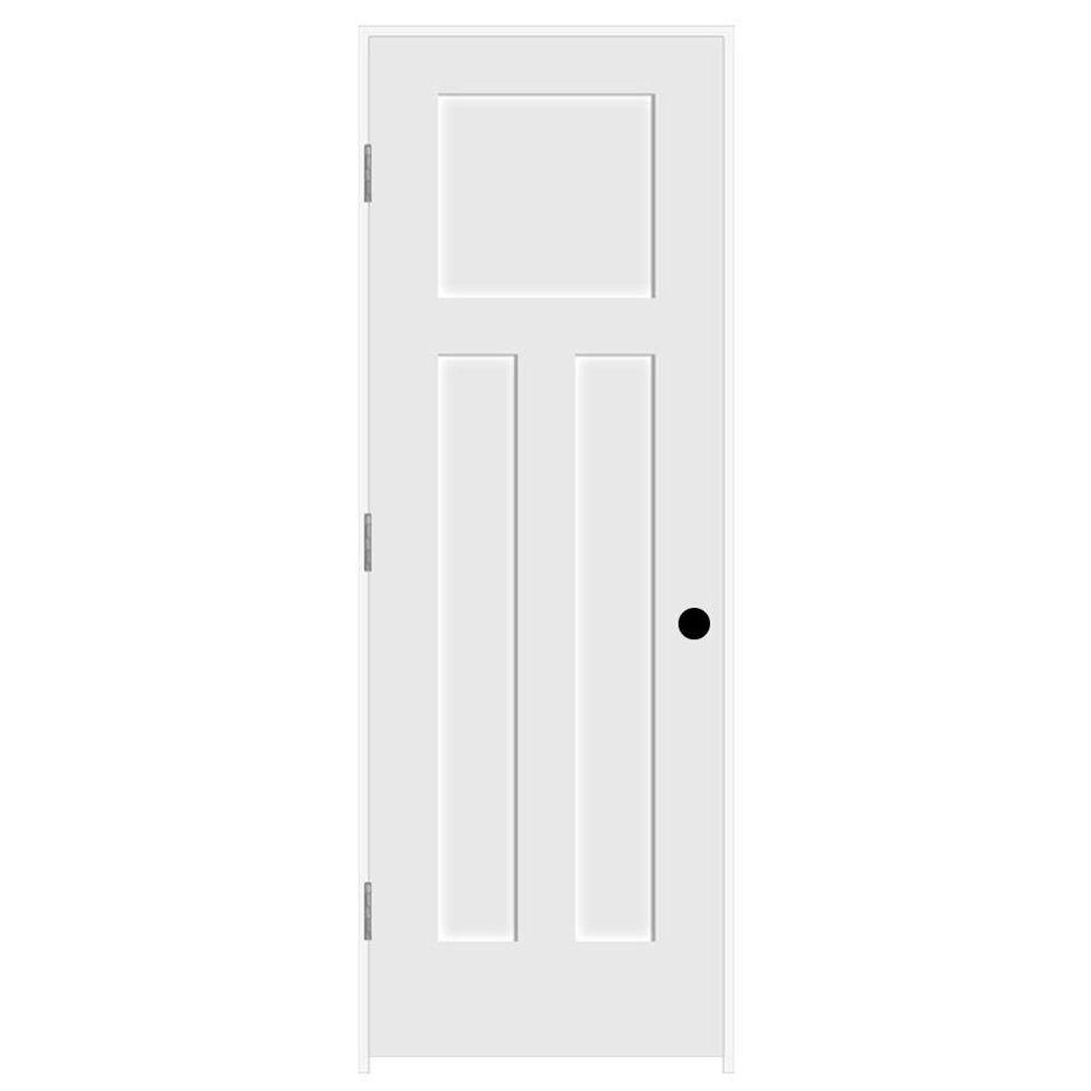 JELD-WEN 28 in. x 80 in. Craftsman Primed Right-Hand Smooth Molded Composite MDF Single Prehung Interior Door