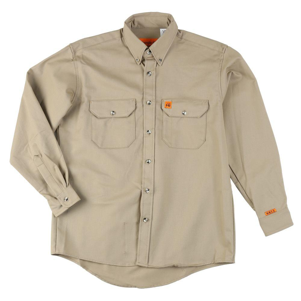 Wrangler Large Men's Flame Resistant Twill Work Shirt, Or...