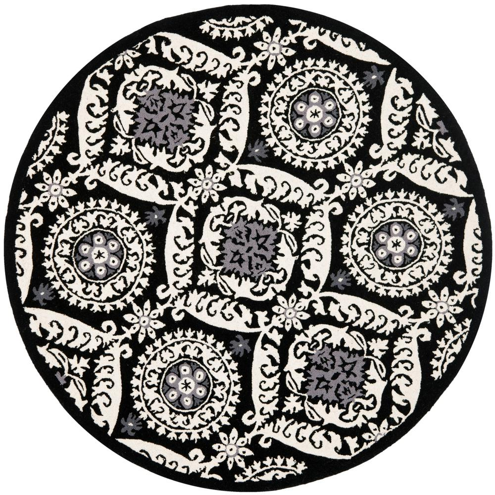 Chelsea Black/Ivory 8 ft. x 8 ft. Round Area Rug
